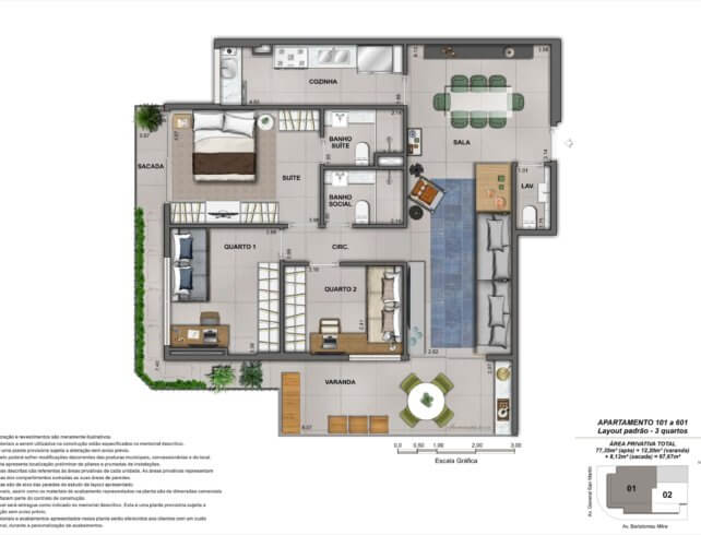 Apartamentos 3 quartos - Bartô 144