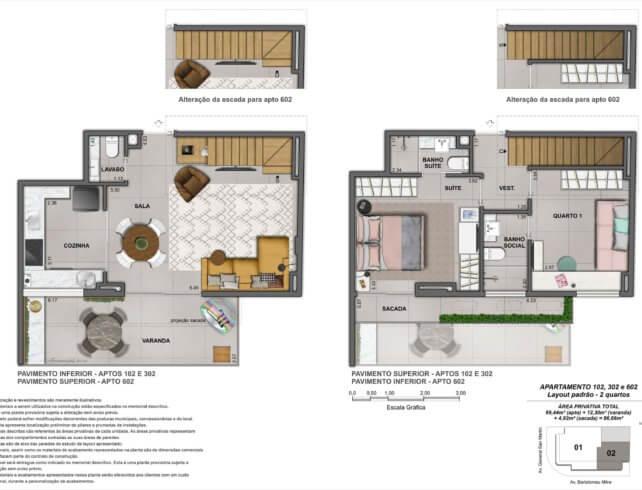Apartamentos 2 quartos - Bartô 144