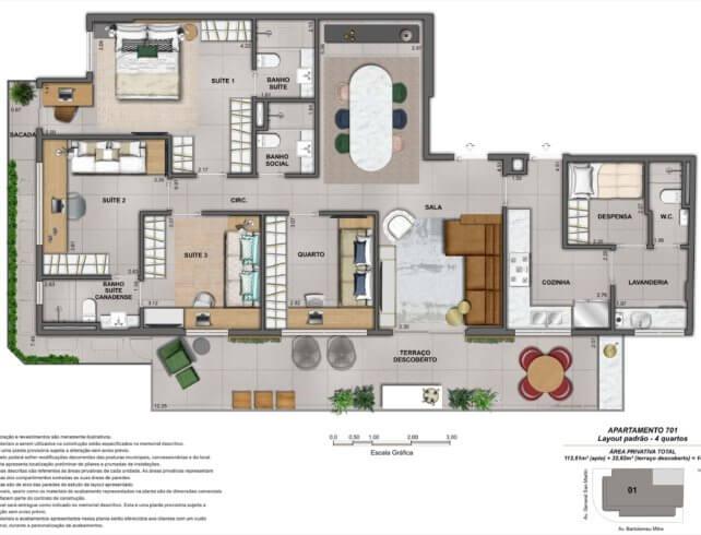 Cobertura Linear 4 quartos - Bartô 144