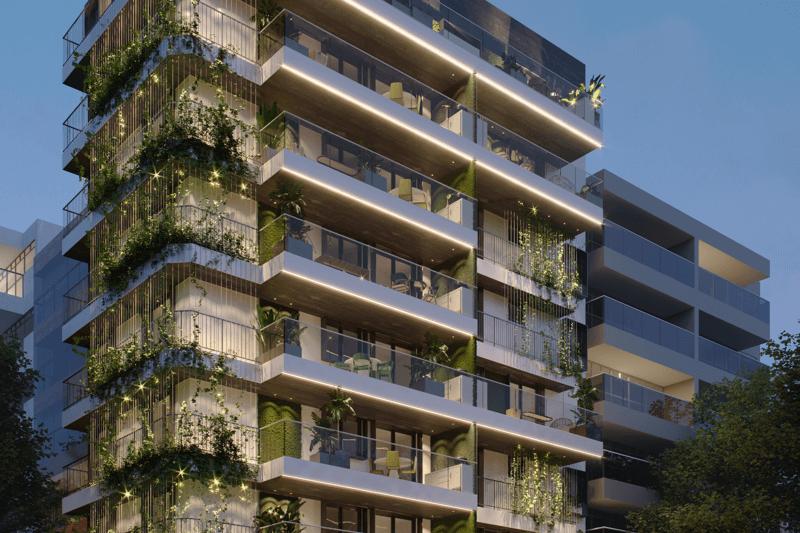 Capa Fachada com jardins verticais